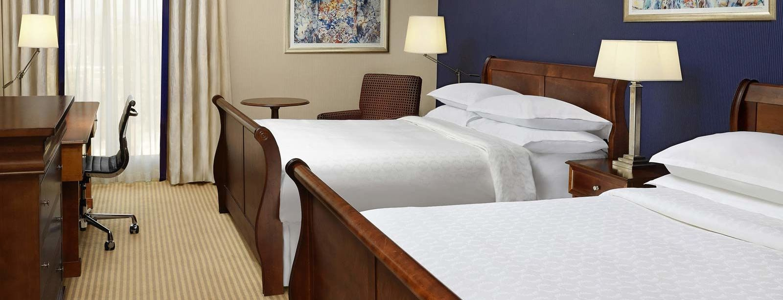 2 Double Beds in the Family Rooms at Sheraton Skyline Heathrow